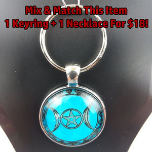 Blue Triple Moon Wicca Glass Cabochon Keychain